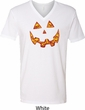 Halloween Jack O Lantern Skull Mens V-Neck Shirt