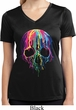 Halloween Melting Skull Ladies Moisture Wicking V-neck Shirt