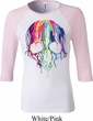 Halloween Melting Skull Ladies Raglan Shirt