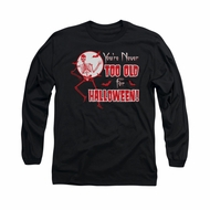 Halloween Shirt Never Too Old Long Sleeve Black Tee T-Shirt