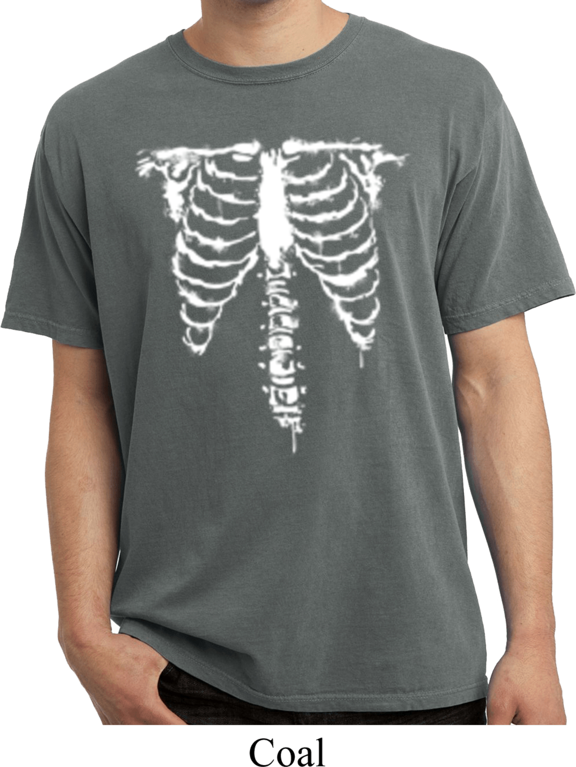 Halloween Skeleton Pigment Dyed Shirt Skeleton Mens