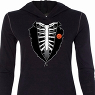 Halloween Tuxedo Ladies Tri Blend Hoodie