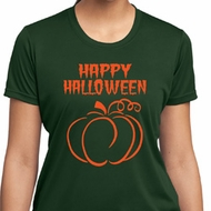 Happy Halloween with Pumpkin Sketch Ladies Dry Wicking T-shirt