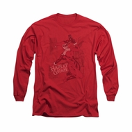 Harley Quinn Shirt Faded Sketch Long Sleeve Red Tee T-Shirt