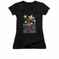 Harley Quinn Shirt Juniors V Neck Hammer Time Black T-Shirt