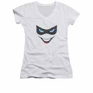 Harley Quinn Shirt Juniors V Neck Mask White T-Shirt
