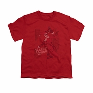 Harley Quinn Shirt Kids Faded Sketch Red T-Shirt