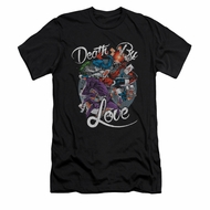 Harley Quinn Shirt Slim Fit Death By Love Black T-Shirt