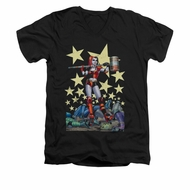 Harley Quinn Shirt Slim Fit V-Neck Hammer Time Black T-Shirt