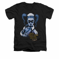 Harley Quinn Shirt Slim Fit V-Neck Inmate Black T-Shirt
