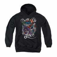 Harley Quinn Youth Hoodie Death By Love Black Kids Hoody