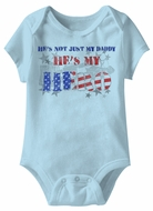 He's My Hero Funny Baby Romper Blue Infant Babies Creeper