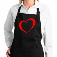 Heart Outline Ladies Full Length Apron with Pockets