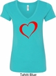 Heart Outline Ladies V-Neck Shirt