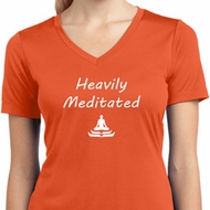 Heavily Meditated Ladies Moisture Wicking V-neck Shirt