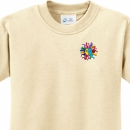 Hippie Sun Patch Pocket Print Kids Yoga Shirts