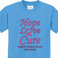 Hope Love Cure Breast Cancer Awareness Kids Shirts