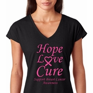 Hope Love Cure Breast Cancer Awareness Ladies Shirts