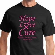 Hope Love Cure Breast Cancer Awareness Mens Shirts