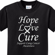 Hope Love Cure Lung Cancer Kids Shirts