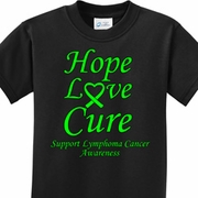 Hope Love Cure Lymphoma Cancer Awareness Kids Shirts