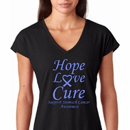 Hope Love Cure Stomach Cancer Ladies Shirts