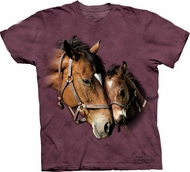 Horse Shirt Tie Dye T-shirt Two Hearts Adult Tee