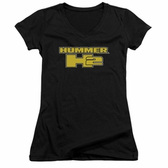 Hummer Juniors V Neck Shirt H2 Block Logo Black T-Shirt