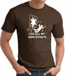 I Do My Own Stunts Crashing and Falling White Print Brown T-shirt
