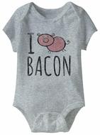 I Love Bacon Funny Baby Romper Grey Infant Babies Creeper