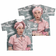 I Love Lucy Chocolate Belt Sublimation Kids Shirt Front/Back Print