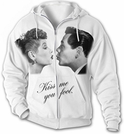 I Love Lucy Hoodie Hooded Sweatshirt - Kiss Adult Full Zip Hoody