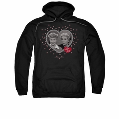 I Love Lucy Hoodie Sweatshirt Hearts And Dots Black Adult Hoody Sweat Shirt