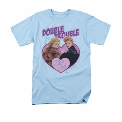 I Love Lucy Shirt Double Trouble Adult Light Blue Tee T-Shirt