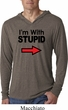 I'm With Stupid Black Print Mens Lightweight Hoodie Shirt