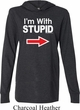 I'm With Stupid Black Print Mens Lightweight Hoodie Tee