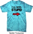 I'm With Stupid Black Print Spider Tie Dye Shirt