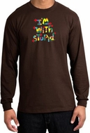 I'm With Stupid Long Sleeve Shirts - Funny Two Ways Adult T-Shirts