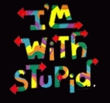 I'm With Stupid Raglan Shirt - Funny Two Ways White/Gold Tee