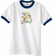 I'm With Stupid Ringer T-Shirt - Funny Two Ways Adult White/Navy Tee