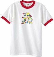 I'm With Stupid Ringer T-Shirt - Funny Two Ways Adult White/Red Tee
