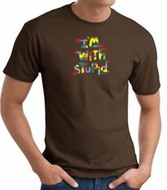 I'm With Stupid T-Shirt - Funny Two Ways Adult Brown Tee Shirt