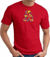 I'm With Stupid T-Shirt - Funny Two Ways Adult Red Tee Shirt