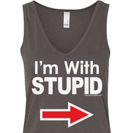 I'm With Stupid White Print Ladies Flowy V-neck Tank Top