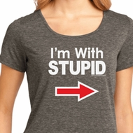 I'm With Stupid White Print Ladies Lace Back Shirt