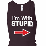 I'm With Stupid White Print Ladies Longer Length Racerback Tank Top