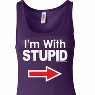 I'm With Stupid White Print Ladies Longer Length Tank Top