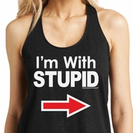 I'm With Stupid White Print Ladies Shimmer Loop Back Tank Top