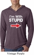 I'm With Stupid White Print Lightweight Hoodie Shirt