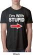 I'm With Stupid White Print Mens Burnout Shirt